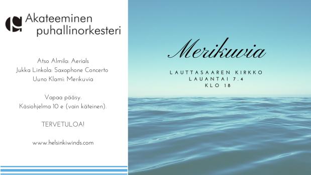 Merikuvia -kevätkonsertti lauantaina 7.4.2018 Lauttasaarenkirkossa